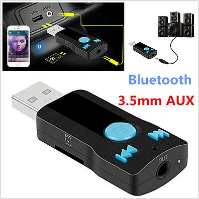 3in1 Wireless Bluetooth 3.5mm AUX Audio Stereo Music Home Car Receiver Adapter