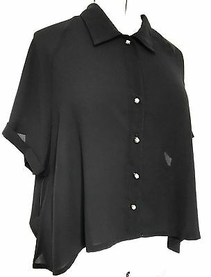 Vintage 1990s Black Loose A-line Silver Ball Buttons Lace Back Panel Blouse 12