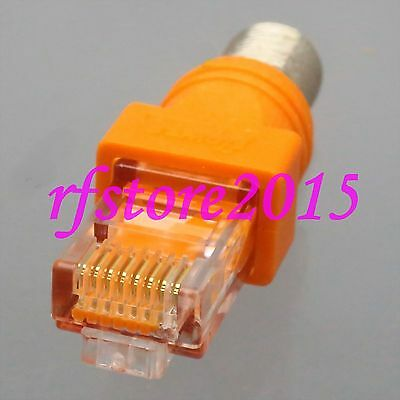 1pce Adapter Connector F TV female jack to RJ45 male Barrel Coupler RF COAXIAL