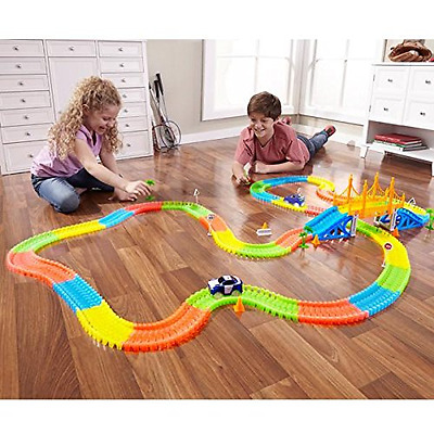 360 PCS Magic Tracks Racetrack Bend Flex Glow LED Light Up Race Car Train Toy
