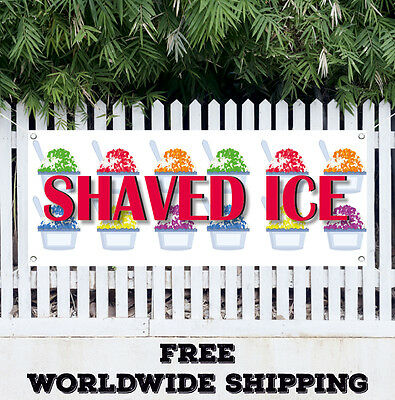 1.5/'X4/' HAWAIIAN SHAVED ICE BANNER Signs Snow Cones Sno Concessions Stand Fair