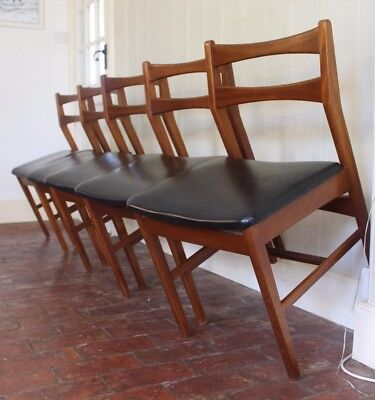 4 A Hopkins Black Danish Style Dining chairs Vintage Retro Mid Century