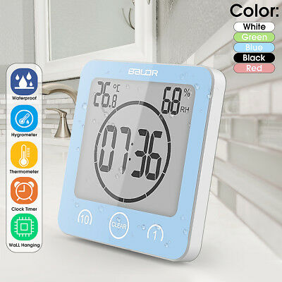 Waterproof Shower Clock Timer Countdown Alarm Temperature Humidity With Suction