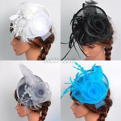 Chic Women Fascinator Hat Feather Floral Headdress Cap Cocktail Fishnet Headband