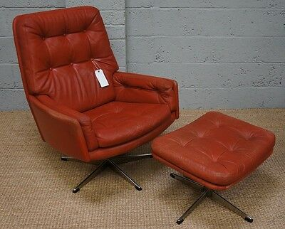 Stunning Quality Danish Red Leather Swivel Chair & Footstool