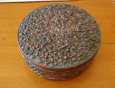 Vintage Chinese Copper and Tin  Round Box
