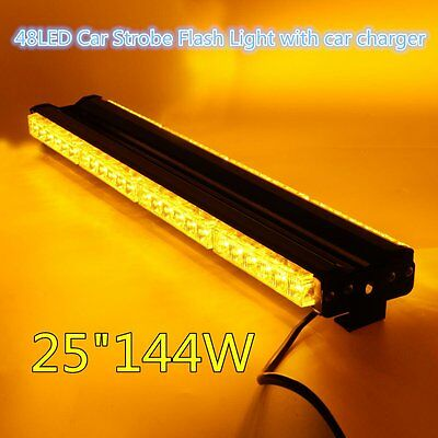48 LED Car Warning Lights Yellow Emergency Light Strobe Flashing Strip Lamp F7