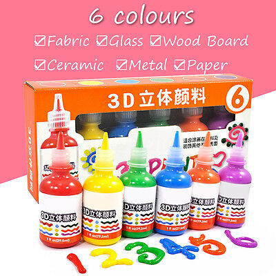 Set 6 Colors /1 fl oz Art Colors  3D Pigment for Marbling Paint Fabric + Paper