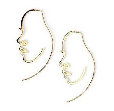 Abstract Art Deco Cutout Female Profile Face Earrings Gold Silver Uk Seller