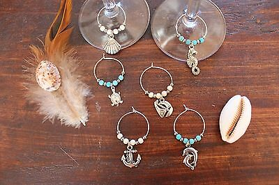 Pretty Handmade Wine Glass Rings Turquoise White & Silver Dolphin Charm Set of 6