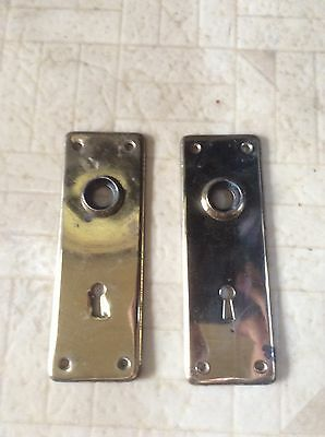 Antique Vintage Door Backplates Pair Brass