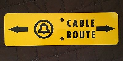 Vintage Bell System Telephone Cable Route Warning Metal Sign-Advertising
