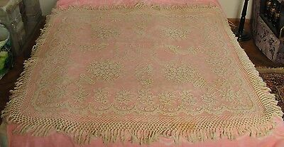 1891 Handmade Filet Lace Tablecloth- size is 140cm X 140cm.
