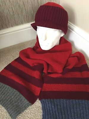 Paul Smith 100% Wool Part Stripe Scarf & Peak Hat Set Made In England Bnib