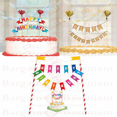 Happy Birthday Bunting Style Cake Topper Unique Banner Style Party Decoration