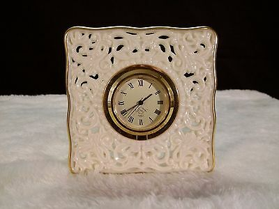 LENOX QUARTZ CLOCK Ivory Gold Decor Collectible Mantel Shelf JAPAN Signed EUC