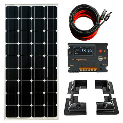 100W Solar Panel Kit Boat Caravan 12V Charger 10A LCD Brackets & 15A Controller