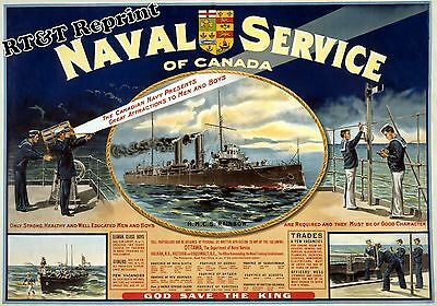 Historical Canadian Ottawa Naval Recruitment Poster HMCS Rainbow 1915c  11x17