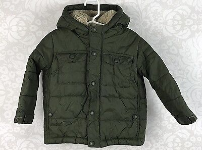 Lands' End Boys Green Quilted Puffer Fleece Lined Hooded Jacket Size 3T