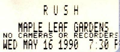 "RUSH Ticket stub 1990 - Maple Leafs Gardens, Toronto  ""Presto Tour"""