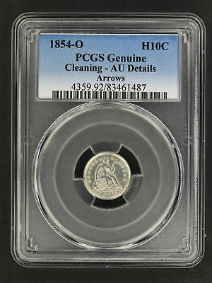 1854-O Arrows Seated Liberty Silver Half Dime PCGS AU Details Cleaning -158677