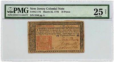 March 25, 1776 New Jersey Colonial Note 18 Pence PMG VF-25 NET Splits, Stains