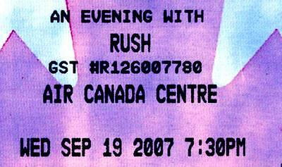 RUSH Concert Ticket 2007 Air Canada Centre, Toronto Snakes & Arrows Tour