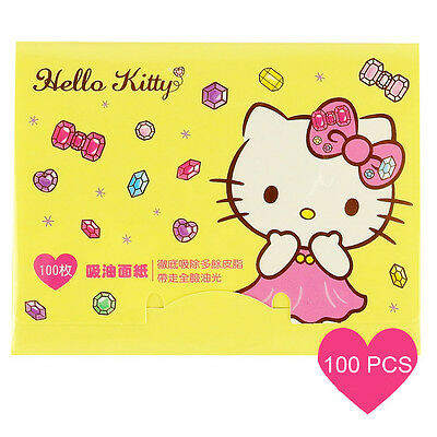 [SANRIO HELLO KITTY] Oil Absorbent Paper YELLOW Gem 100pcs NEW