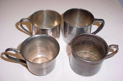 SCRAP Antique Baby Cups LOT 4 Silver Plate