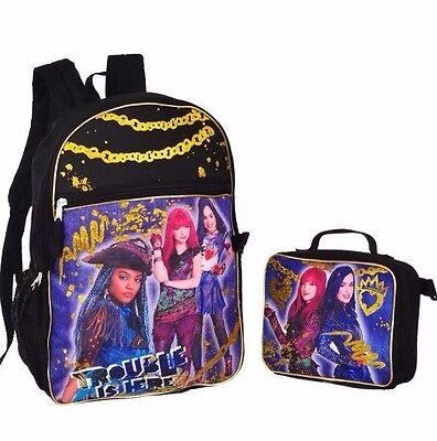 New Disney Descendants2 Girl Backpack School Bag With Insulated Lunch Box NWT