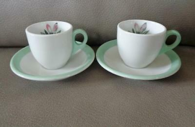 Pair Vintage Shenango Restaurant Ware Magnolia Demi Cups and Saucers