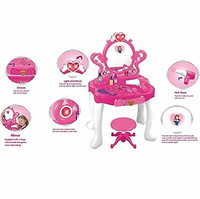 Kids Pink Electronic Princess Style Dressing Table Play Set With Light & Sounds