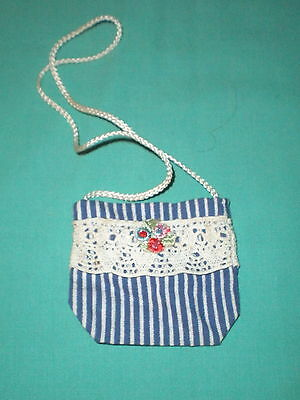 Puppentasche blau gestreift/ doll bag blue striped