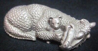 Fantasy Pewter Gallo FIGURINE Nap Time Sleep Sleeping DRAGON With Teddy Bear