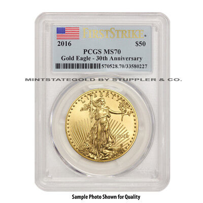 2016 $50 Eagle PCGS MS70 First Strike American Gold Bullion 1 oz coin Flag Label