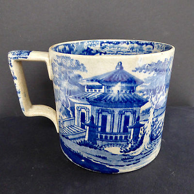 Blue White Transfer Ware Mug Antique Victorian Porcelain Circa 1835-60 England