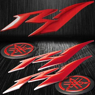 "6"" ABS 3D Logo Emblem+2"" Fairing/Fender Badge Sticker for YZF-R1/R1S Chromed Red"