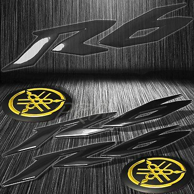 "6"" ABS Black 3D Logo Emblem+2"" Fairing/Fender Badge Sticker for YZF-R6/R6S Gold"
