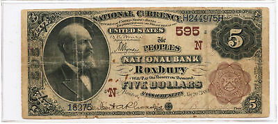 1882 $5 Banknote Brown Back The Peoples NB of Roxbury, MA Ch #595