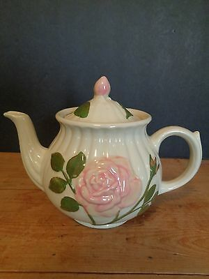 Vintage Shawnee Ceramic Teapot Embossed Pink Rose with Lid USA