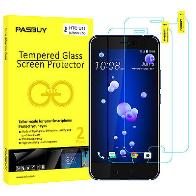 PASBUY® 2 Pack [Japan Glass] 0.26mm Tempered Glass Screen Protector for HTC U11
