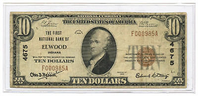 1929 $10 National Banknote Type 1 The First NB of Elwood, Indiana Ch #4675