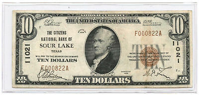 1929 Type 1 $10 National Banknote The Citizens NB of Sour Lake, TX Ch #11021