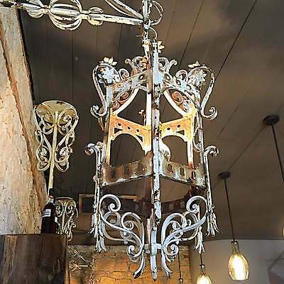 2 Antique Spanish/French Wrought Iron Lanterns Sconces