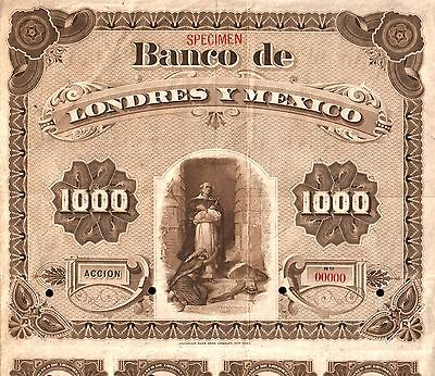 1889 BANCO LONDRES y MEXICO $1000 GOLD SPECIMEN BOND! ONLY 1 KNOWN! CV $250,000!