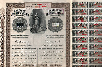 1905 Banco Londres Y Mexico (Queen Victoria) 1000 Peso Specimen! Issued $69,995!