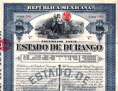 CHOICE CRISP BLUE 1907 ESTADO DURANGO MEXICO BOND w 44 COUPONS! SPECTACULAR FIND