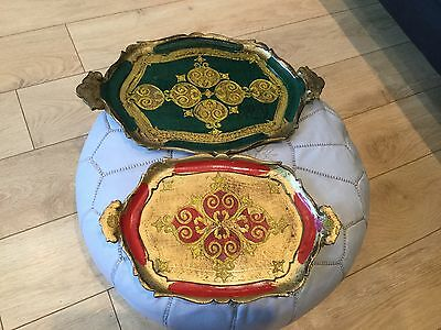 2 Beautiful Vintage Wooden Florentine Trays green/gold and gold/red