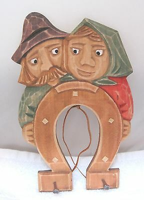 Vintage German Hand Carved Wood Man Woman Horseshoe Hook Wall Hanging SHP