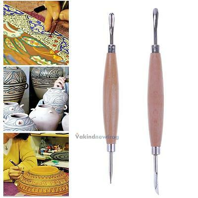 2pcs Clay Wooden Handle Stainless Steel Sculpture Carving Craft Pottery Tool Set